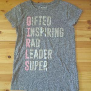 Children's Place grey glitter GIRLS tee Sz 10/12